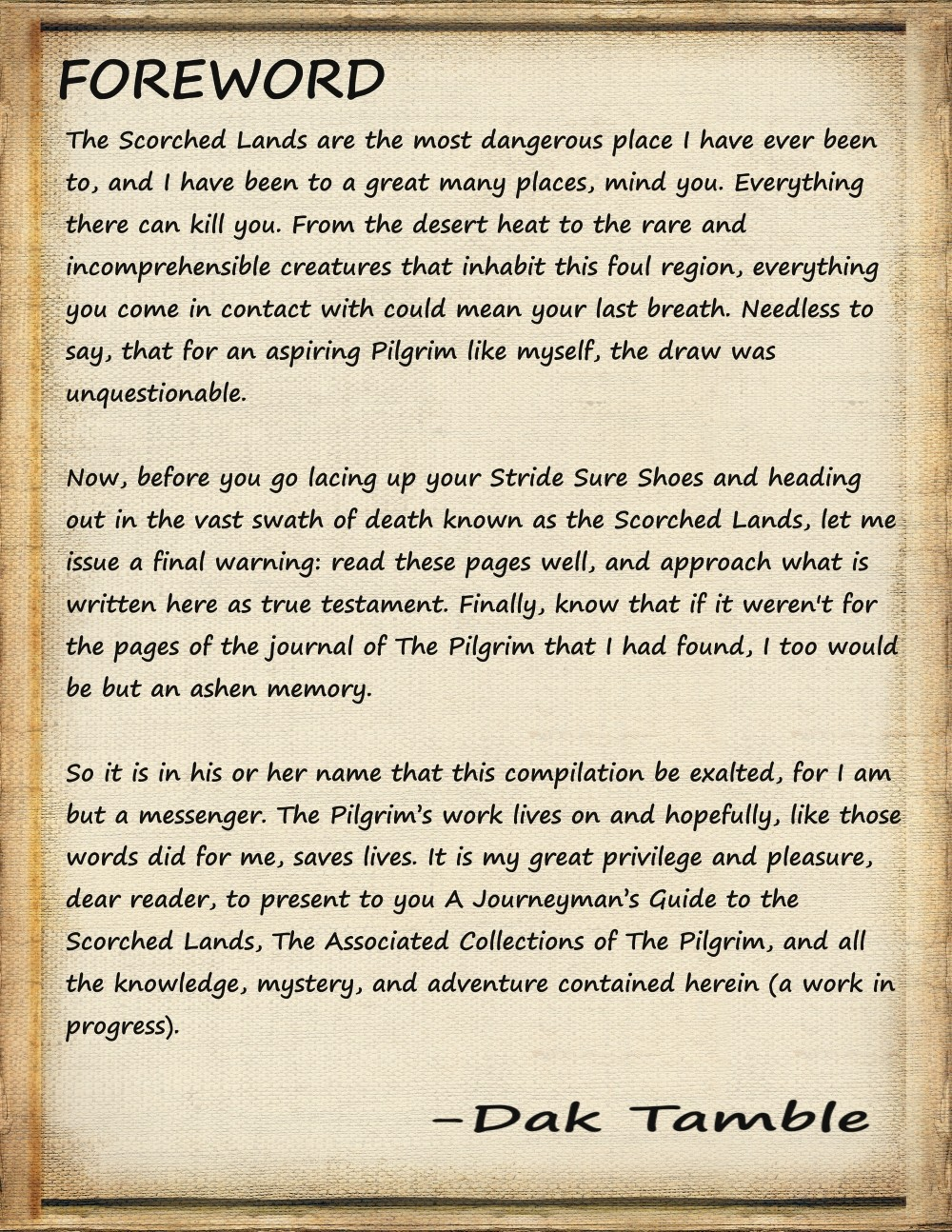 pilgrim's guide page 1