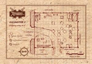 Encounter 2 - Sculpture Studio - GM Map - half page landscape