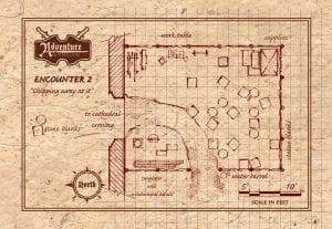 Encounter 2 - Sculpture Studio - Player Map - half page landscape