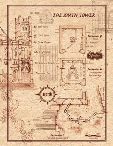 Encounters 3 and 4 - South Tower - Player Map - VTT - full page-portrait