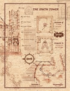 Encounters 3 and 4 - South Tower - Player Map - full page-portrait